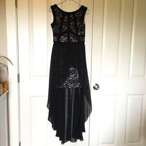 High low black lace prom dress